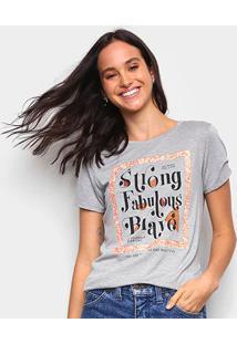 Camiseta Marialicia Strong Fabulous Brave Feminina - Feminino-Mescla