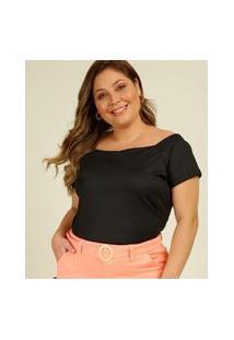 Blusa Plus Size Feminina Ciganinha Canelada