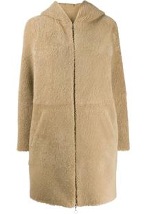 Sprung Frères Powell Hooded Shearling Coat - Neutro