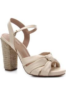 Sandália Shoestock Salto Alto Tiras Nó Feminina - Feminino-Bege