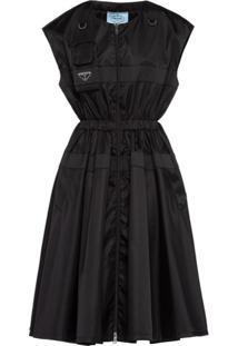 Prada Vestido De Gabardine - Preto