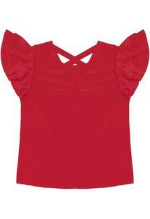 Blusa Crepe Rovitex Feminina - Feminino-Vermelho