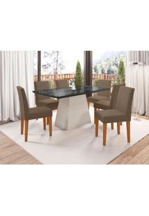 Conjunto De Mesa De Jantar Com Tampo De Vidro Bárbara E 6 Cadeiras Giovana Veludo Nero E Marrom