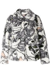 Shrimps Swirl Print Cropped Jacket - Branco