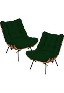 Kit 02 Poltronas Decorativas Sala De Estar Costela Suede Verde Musgo - Lyam Decor