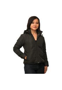 Jaqueta Feminina Com Capuz Removível Com Manta Térmica Inverno (Enchimento Em Fibra) Preto