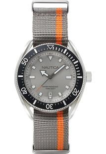 Relógio Nautica Masculino Nylon Cinza E Laranja - Napprf003