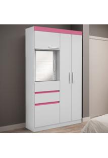 Guarda-Roupa 5 Portas 1 Com Espelho Napoli Flex Bco/Rosa/Azul - Genialflex
