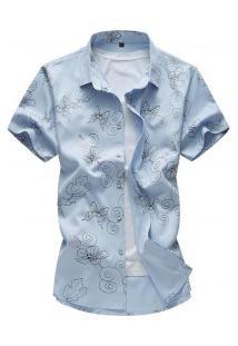 Camisa Masculina Estampa Riscada - Azul Claro