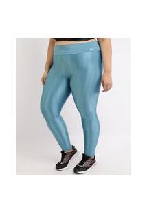 Calça Legging Feminina Plus Size Esportiva Ace Texturizada Cintura Alta Azul