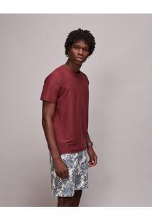 Camiseta Masculina Básica Flamê Manga Curta Gola Careca Vinho
