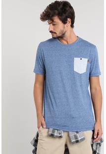 Camiseta Masculina Com Bolso Manga Curta Gola Careca Azul