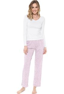 Pijama Malwee Liberta Onça Rosa/Branco