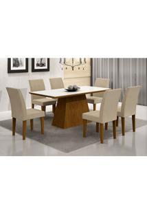 Conjunto De Mesa De Jantar Luna I Com Vidro 6 Cadeiras Grécia Veludo Imbuia E Creme
