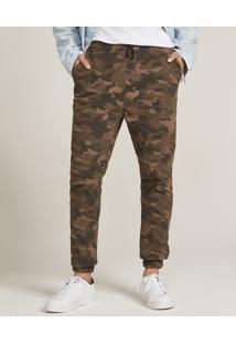 Calça Jogger Skinny Masculina Estampada Camuflada Com Bolsos Marrom