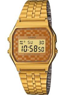 Relógio Casio Vintage A159Wgea-9A - Feminino-Dourado+Bege