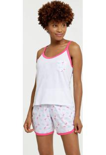 Pijama Feminino Estampa Flamingo Alças Finas