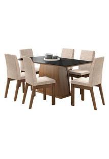 Sala De Jantar Madesa Milena Mesa Tampo De Vidro Com 6 Cadeiras Preta/Bege