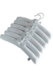 Conjunto De Cabides Forrados - 6 Unidades - Tecido Piquet - Branco - 100% Algodão - Drops De Anyz