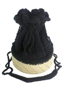 Bolsa Saco Redonda Artestore De Crochê Preta E Palha De Carnaúba Natural