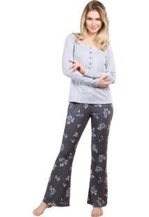 Pijama Inspirate Com Polo E Calça Floral