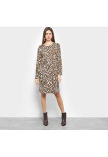 Vestido C & V Collection Animal Print Onça - Feminino-Caramelo