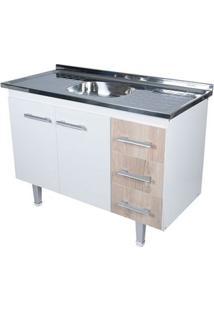 Gabinete De Cozinha New Milano 117,4X55Cm Branco E Madeirado Bonatto