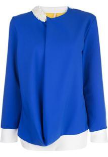 No Ka' Oi Blusa Assimétrica Com Drapeado - Azul