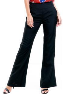 Calça 101 Resort Wear Flare Cintura Alta Preta Bolso