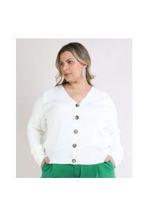 Cardigan Feminino Plus Size Em Tricô Com Botões Decote V Off White