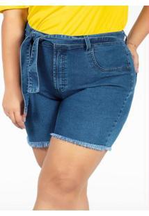 Short Desfiado Jeans Com Faixa Plus Size
