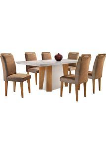 Conjunto De Mesa Para Sala De Jantar Retangular Com 6 Cadeiras Helena/Athenas-Rufato - Animalle Chocolate / Off White / Imbuia