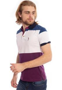 Camisa Polo Aleatory Listrada Curve Masculina - Masculino-Branco+Roxo