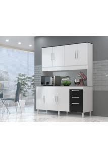 Cozinha Compacta Gemeos 1,44M 7 Portas 3 Gav. Branco Preto - Branco - Dafiti