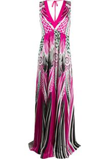 Just Cavalli Vestido Longo Com Estampa Color Block - Rosa