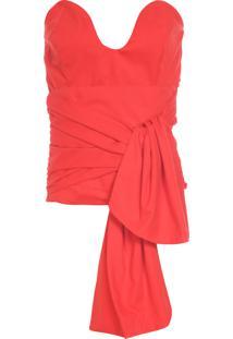 Blusa Feminina Bustier Origami - Laranja
