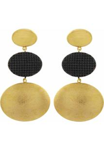 Brinco Narcizza Semijoias Triplo Oval Ouro Liso E Escovado Com Zircônia Onix Ouro