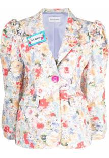 Art Dealer Blazer Com Estampa Floral De Algodão - Branco