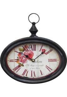 Relógio Kasa Ideia De Parede Rosas 29Cm