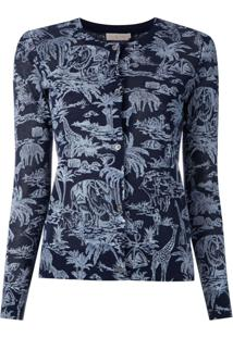 Tory Burch Blusa De Tricô Estampada - Azul