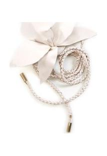 Cinto E Broche Flor Off White - Tu