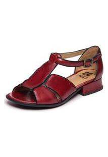 Sandália Vermelha Salto Baixo - Amora / Preto 5701