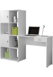 Mesa Para Computador Com Estante América - Artely - Branco