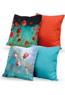 Kit 4 Capas De Almofadas Decorativas Own Flores E Lisas Laranja E Azul 45X45 - Somente Capa