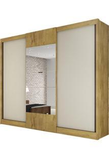 Guarda Roupa Make 3 Portas Com Espelho Freijo/Off White
