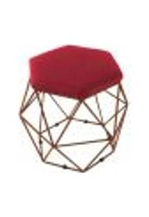 Puff Decorativo Aramado Bronze Vermelho Suede Hexâgono Geométrico