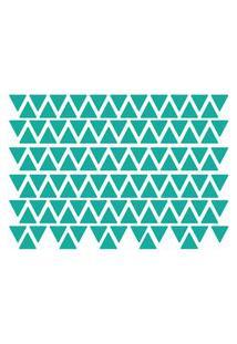 Adesivo De Parede Triângulos Azul Turquesa 121Un...