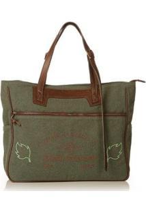 Bolsa Blue Bags Tote Reciclada Bordado Ar Feminina - Feminino-Verde+Marrom