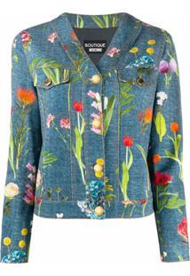 Boutique Moschino Jaqueta Jeans Com Estampa Fotográfica Floral - Azul
