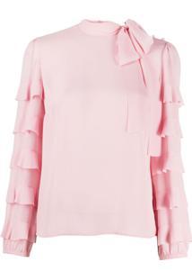 Redvalentino Ruffle-Sleeve Tie-Neck Blouse - Rosa